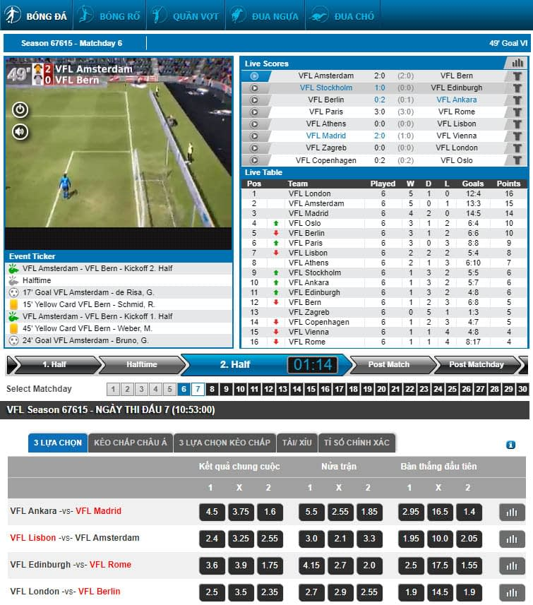 Virtual Sports - Thể thao ảo 24/7