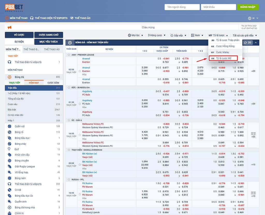 P88.Bet - Tỉ lệ cược Mỹ (AM)