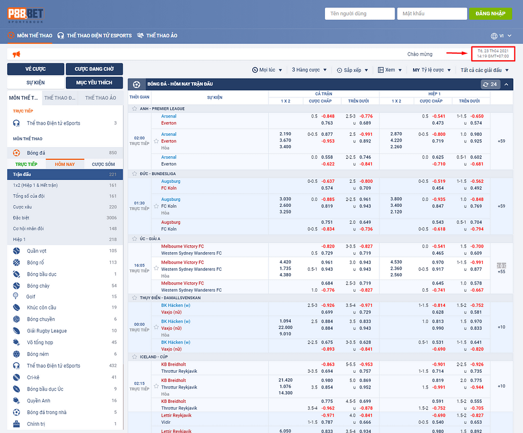 P88.Bet - Thời gian GMT+7 theo giờ Việt Nam